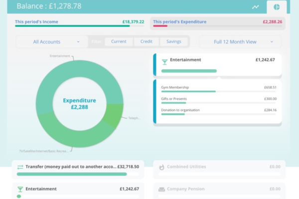 Screenshot of Open Banking on the PFP